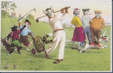 Dog golf postcard 2