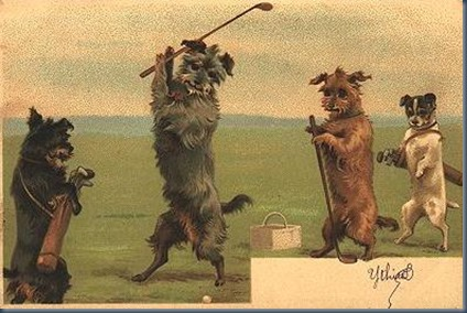 Dog golf postcard 3