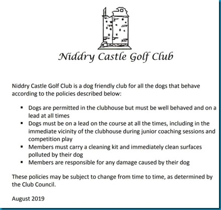 Good dog policy golf